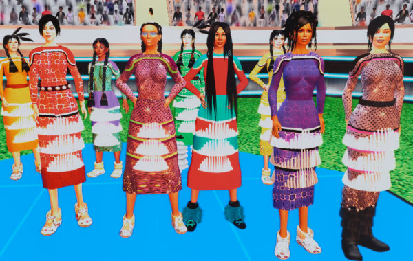 Skawennati - Jingle Dancers Assembled